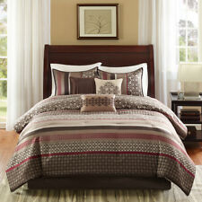 New Brown Red Grey Blue Jacquard Geometric Damask 7 Comforter Cal King Queen Set