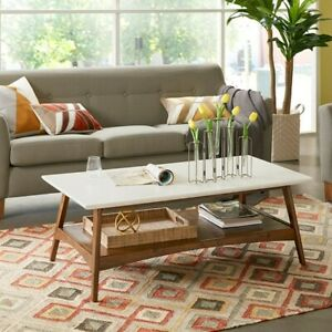 """Parker Coffee Table Off-White/Pecan Wood 45"""" Wide Madison Park"""