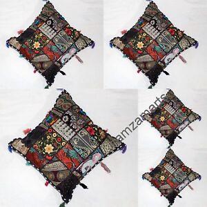 "5 Pcs Square 16"" Black Cushion Cover Decorative Pillow Covers Patchwork Handmade"