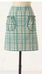 ANTHROPOLOGIE Skirt GIRLS FROM SAVOY A-line Pocket Skirt Cotton Sz 0 EUC