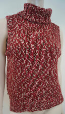 DOLCE & GABBANA & Burgundy Cream Chunky Rib Sleeveless Jumper Sweater Top 40 UK8