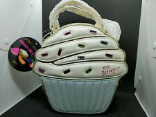Betsey Johnson Cupcake Large Insulated Lunch Tote Bag Crossbody Gold Purse