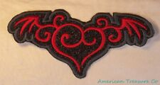 Embroidered Red & Black Glitter Sparkle Winged Heart Love Applique Patch Iron On