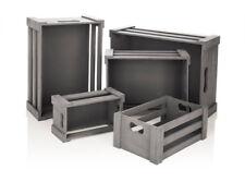 Holz-Boxen, grau, 5er-Set, Weinkiste, Dekokiste, Apfelkiste, Holzkiste - NEU