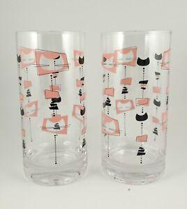 2 Pink & Black Kitty Cat Atomic Style Highball Drinking Glasses Tumblers Barware