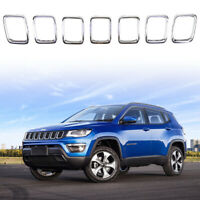 Chrome Front Grill Grille Insert Rings Trim for 2017-2019 Jeep Compass - Clip-in