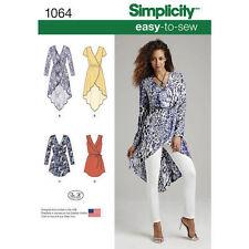Simplicity Sewing Pattern 1064 SZ 14-22 Women's Tunics Tops Mock Wrap Tie Belt