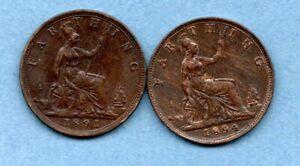 1891 & 1894 QUEEN VICTORIA BUN HEAD FARTHING COINS IN LOVELY CONDITION.