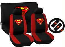 Superman Red Black Trim Car Seat Cover Set Front Rear Bench Steering Wheel HS1