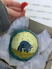 Hand Painted Elephant Christmas Ornament Ball Made in India Green Gold