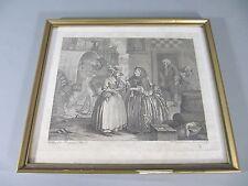 alter Kupferstich W. Hogarth Lebenslauf einer Dirne Blatt 1 ca. 1800