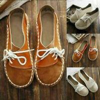 Women's Comfy Pumps Shoes Retro Moccasins Shoes Slip On Loafers Lace-up Mules