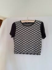 Sportsgirl ladies top size L (very small L) black white and grey stretch