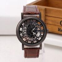 Élégant-montre-Homme-Cadran Noir-Or-Inox-Acier-Date-Quartz-Squelettique