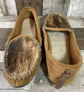 Woolrich 1162 Women's Tillamook Leather And Calf Hair Tan Slippers Size 8