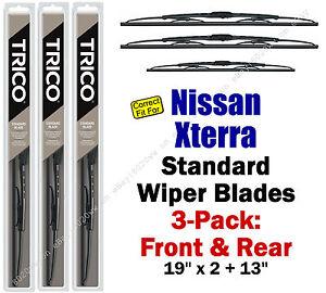 Wiper Blades 3pk Front Rear Standard fit 2000-2004 Nissan Xterra 30190x2/30130