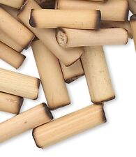 100 Small Tan Bamboo Wood 11x2mm-15x3mm Round Tube Beads