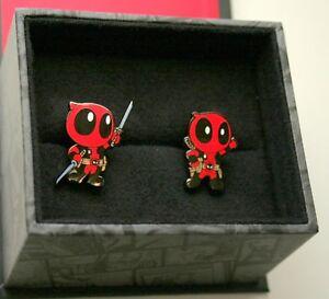 Marvel Comics Deadpool Cartoon Style Metal Cuff Links New NOS + Gift Box