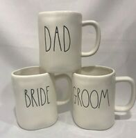 Rae Dunn Ceramic Bride, Groom And Dad With Black Letters Mugs Set Of 3