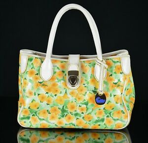 Dooney Bourke Petunia Floral Satchel Tote Bag White Leather Coated Canvas Purse