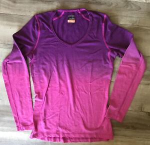 Icebreaker Womens  Bodyfit 200 Base Layer Small Shirt Wool V Neck Purple To Pink