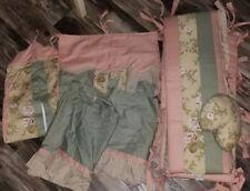Sweet Jojo Designs Baby Girls Pink Green Floral 6pc Crib Bedding Set