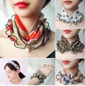 Women's Fashion Chiffon Creative Fake Pearl Pendant Lace Loop Scarf Necklace
