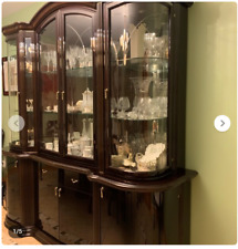 Mahogany Lacquered Wood China Cabinet Storage Lighted Mirror We Ship. Buyer Pays