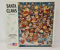Vintage 1994 SANTA CLAWS 1000 Piece Jigsaw Puzzle Christmas Bill Bell 20x27 Cats