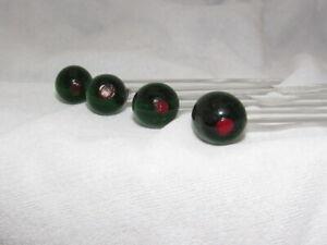 VINTAGE LOT of 4 MARTINI GREEN OLIVE FIGURAL GLASS SWIZZLE STICKS
