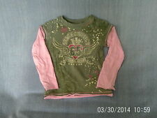 Girls 4 Years - Olive Green & Pink Long Sleeve Top with Logo - Next