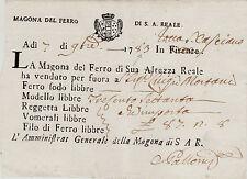 #1783 - SAN CASCIANO VAL DI CECINA: MAGONA DEL FERRO- RICEVUTA PER VENDITA..