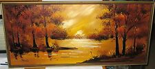 JANNIS OIL ON CANVAS SUNSET RIVER LANDSCAPE LARGE MID CENTURY 1960'S PAINTING