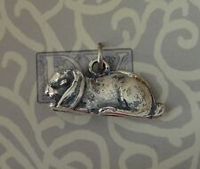 Sterling Silver 3D 10x22mm Flop Holland Lop Ear Eared Rabbit Bunny Charm