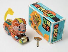 Vintage Tin Toy Wind-up Daguen shi zi Chinese Lion with Ball, Box & Key