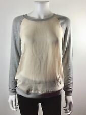BELLA LUXX Ivory Gray Silk Pullover Blouse Top Size Small