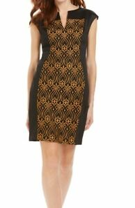 Connected Apparel Womens Dress Black Size 6P Petite Sheath Stitch Front $79 #437