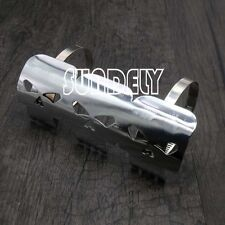 UK Universal Silver Skull Metal Exhaust Heat Shield Guard Motorcycle Motorbike