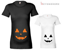 WOMENS HALLOWEEN PUMPKIN BUMP MATERNITY T-SHIRT PREGNANCY TOP SHOWER GIFT