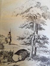 Très beau Grand Dessin Militaire  belle encre original 1850