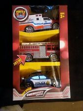 NEW!! (3) Top Right Toys - Emergency Vehicles  Ambulance Fire Truck & Police Car