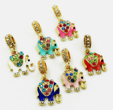 6 pcs  Elephant Crystal European Gold Pendant Charm Beads Fit Necklace Bracelet