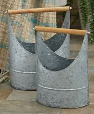 Rustic Galvanized 2 Bucket Caddy Tote Primitive Organizer Storage Farmhouse Tin