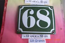 Hausnummer Nr. 68 weiße Zahl auf gras grünem Hintergrund 12 cm x 10 cm Emaille