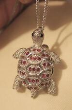 Delightful Sculpted Red Rhinestone Turtle Tortoise Silvertone Pendant Brooch Pin