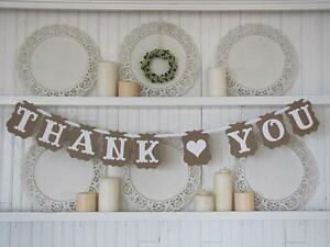Thank You Banner Bunting Sign Married Vintage Party Prop Wedding Garland Hanging