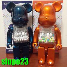 Medicom 400% Bearbrick ~ My First Be@rbrick Baby Pearl Navy & Pearl Orange 2p