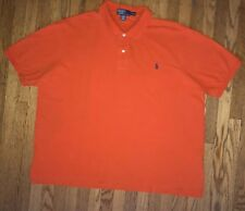 Polo Ralph Lauren Mens Shirt Sz 3XB Orange Cotton 2 Button Short Sleeve