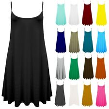Women's Ladies Sleeveless Cami Vest Top Swing Floaty Flared Strappy Skater Dress