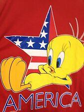Vtg Tweety America T Shirt XL Looney Tunes 1996 Red USA Made